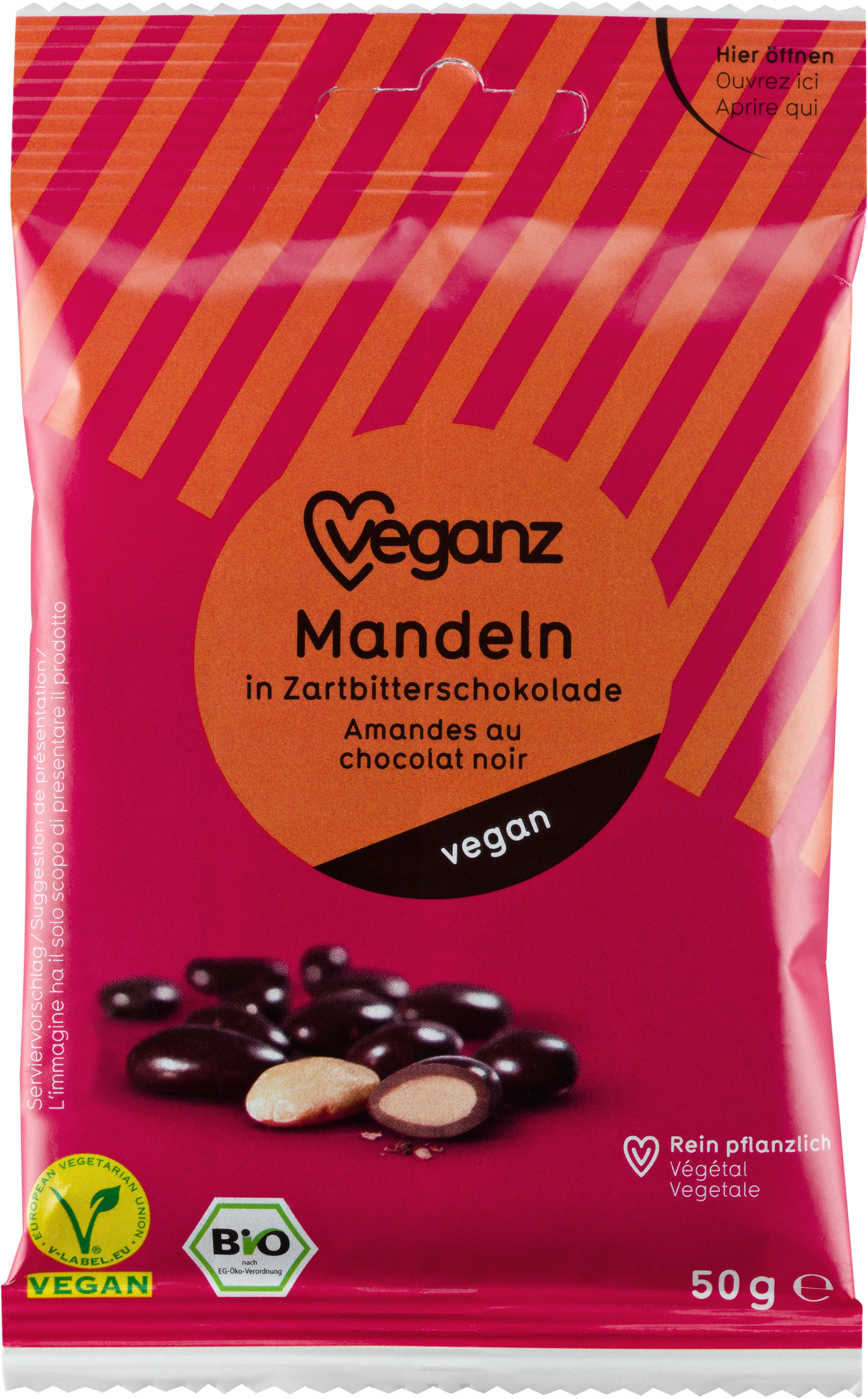 Organic Veganz Almonds In Dark Chocolate Chocolate Almonds