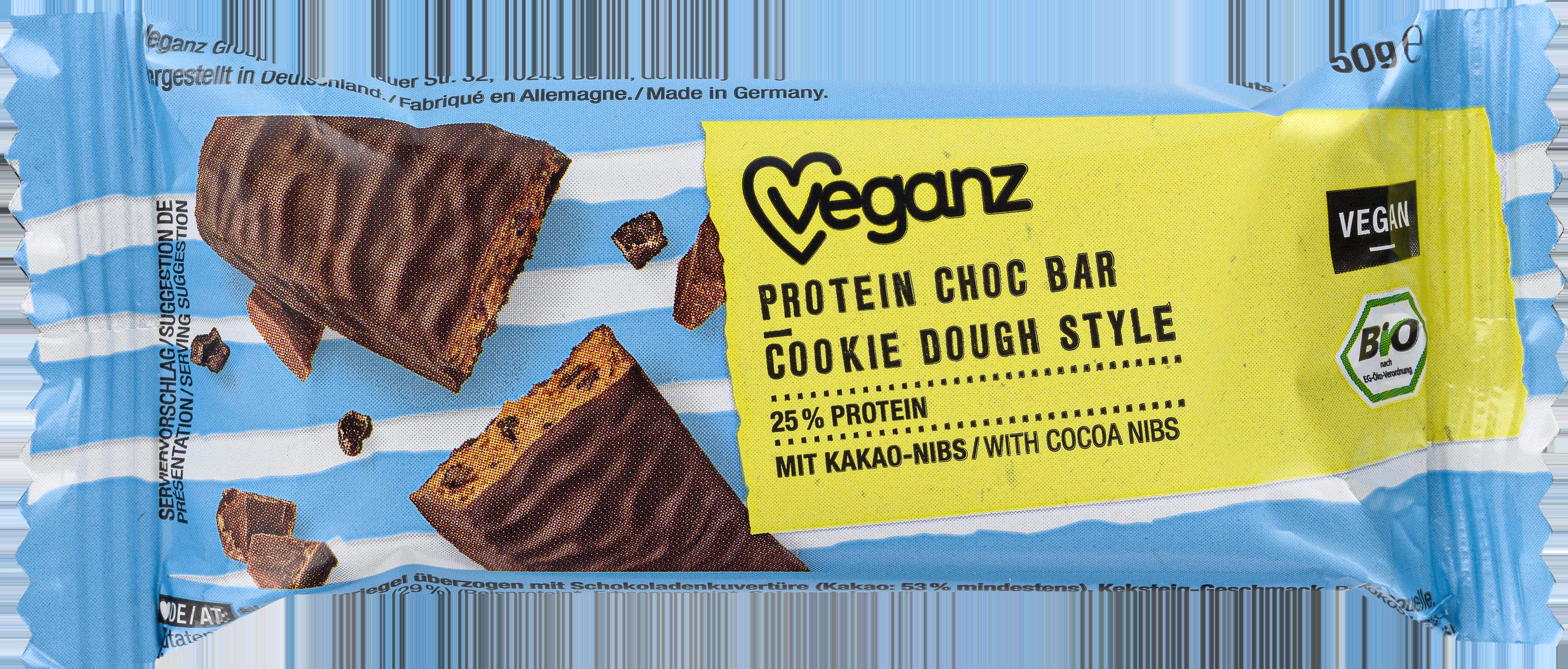 Veganz Cookie Dough Style Protein Choc Bar   Vegan protein bar.